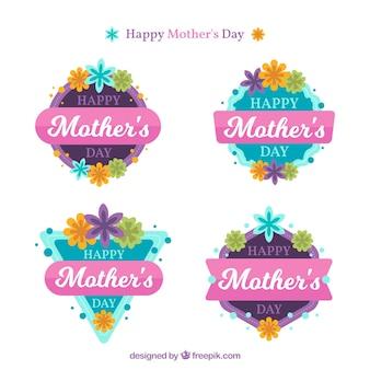 Bloco de quatro emblemas planos para o dia da mãe