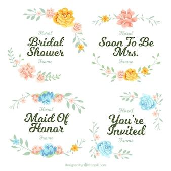 Bloco de quatro frames florais para o chuveiro nupcial