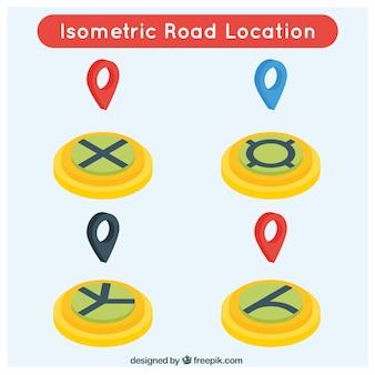 Bloco de quatro locais de estrada isométricos