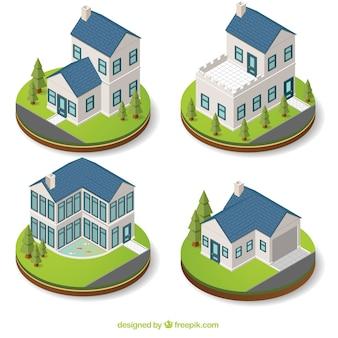 Bloco de quatro mansões isométricos