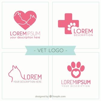 Bloco do logotipo veterinário rosa