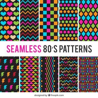 Bloco dos anos oitenta colorido padrões
