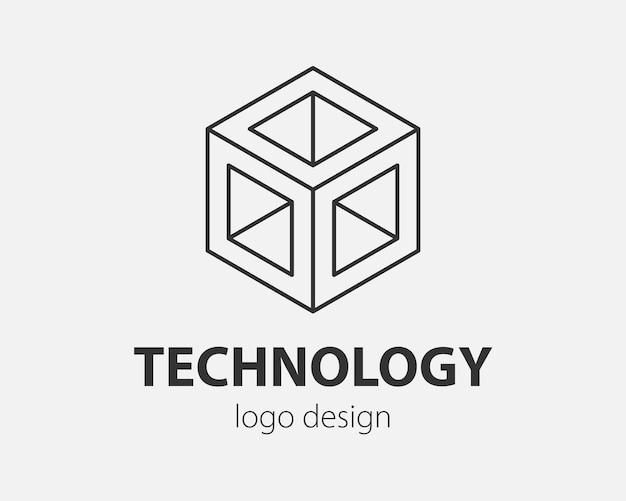 Bloco logo design abstrato estilo linear do modelo de vetor de comunicação de tecnologia. ícone de conceito do logotipo da web de inteligência.
