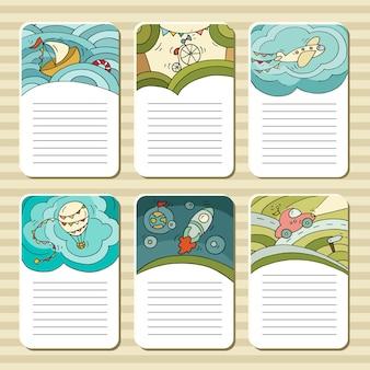 Blocos bonitos para cartões, notas