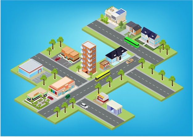 Blocos de megalópole de cidade isométrica plana