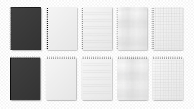 Blocos de notas realistas. folhas em branco, planejadores abertos.