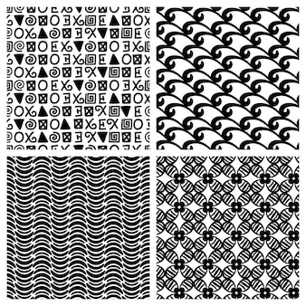Blocos de textura de decoração primitiva. padrões sem emenda de moda monocromática de impressão tradicional vetorial
