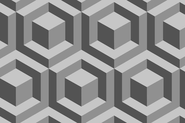 Blocos padrão geométrico 3d vetor fundo cinza em estilo moderno