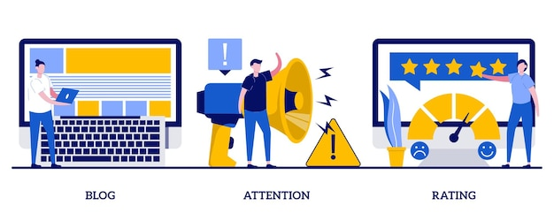 Blog, atenção, conceito de avaliação com pessoas minúsculas. conjunto de métodos de promoção. blogueiro popular, anúncio público, metáfora do sistema de avaliação da qualidade do serviço.