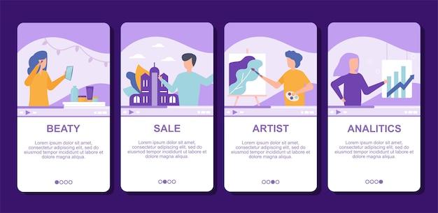 Blog de beleza, analítica, vendas e arte em vídeo na internet online ilustração streaming de vídeo ao vivo, tecnologias de mídia social.