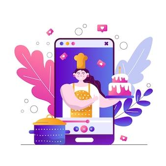 Blog de culinária de ilustração