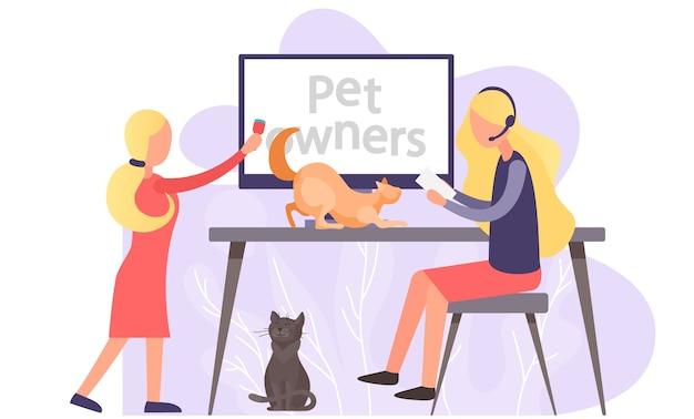Blog de vídeo para donos de animais de estimação, mulheres próximas à tela do computador com tutorial sobre como manter o gatinho em casa.