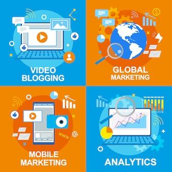 Blog de vídeos. análise de marketing móvel global