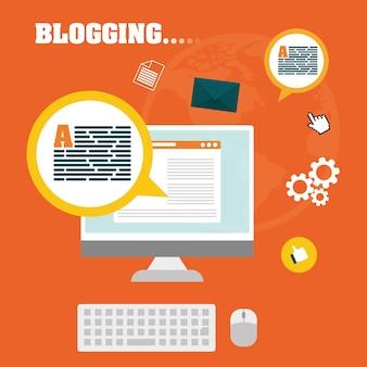 Blog e design gráfico de tecnologia, eps10 de ilustração vetorial