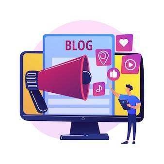 Blogar divertido. criação de conteúdo, streaming online, videoblog. jovem fazendo selfie para rede social, compartilhando feedback, estratégia de autopromoção ilustração vetorial de metáfora de conceito