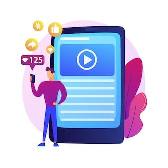 Blogger compartilhando conteúdo de vídeo, mídia social, curtidas e seguidores