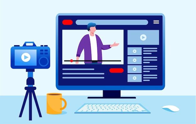 Blogger conteúdo criador entretenimento conceito ilustração vetorial plana para banner landing page