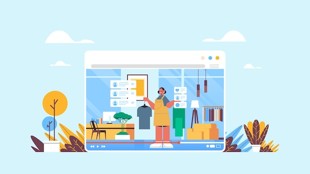 Blogger de moda gravando blog de vídeo online streaming ao vivo conceito de blogging garota vlogger na janela do navegador da web interior da sala de estar horizontal