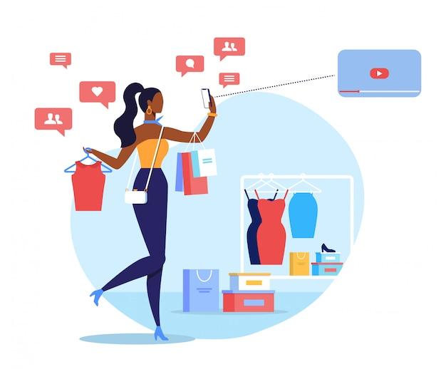 Blogger de moda, ilustração em vetor plana streamer