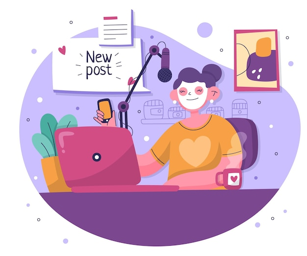 Blogger desenhado à mão com laptop