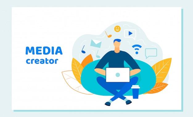 Blogger homem, criador de mídia social trabalhando laptop