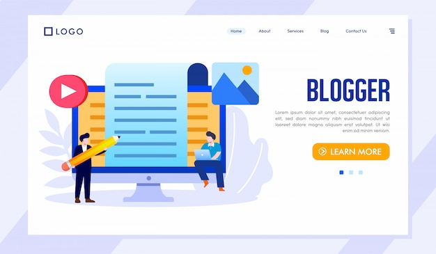 Blogger landing page site ilustração vector