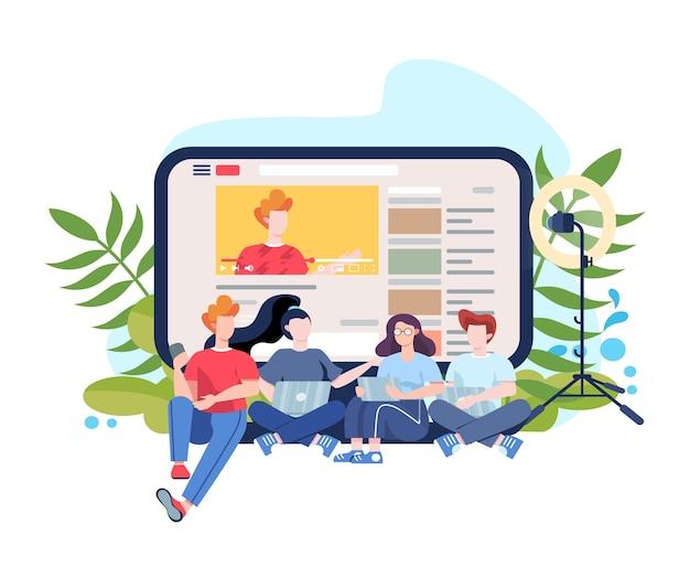Blogger. lebre e assista a conteúdo na internet. idéia de mídia e rede social. comunicação online. ilustração