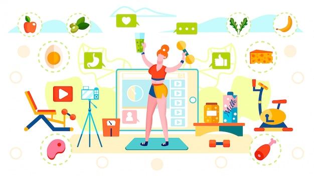 Blogger nutrição saudável e estilo de vida esportivo