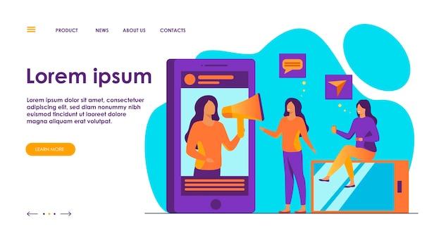 Blogger promovendo produto ou serviço em ilustração de mídia social.