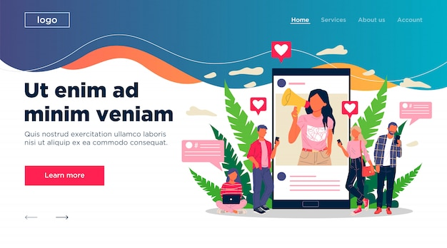 Blogger que promove bens e serviços para seguidores on-line