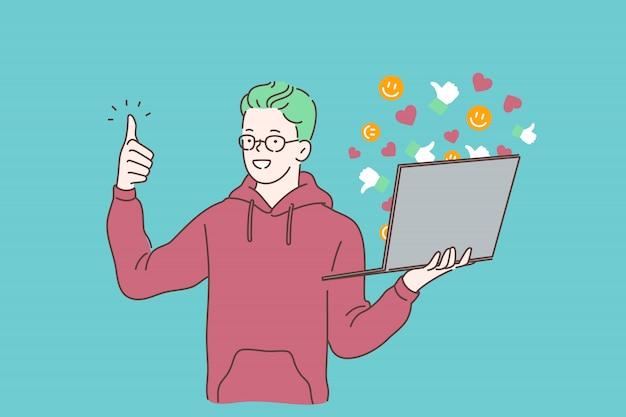 Blogging, comunicação em mídia social, atraindo seguidores e obtendo gostos conceito