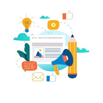 Blogging, escrita criativa, gerenciamento de conteúdo,