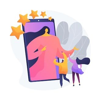 Blogging nas redes sociais, promoção online, popularidade na rede. compartilhando fotos, preenchendo conteúdo. personagens de desenhos animados do blogger e seguidores. ilustração em vetor conceito metáfora isolado.
