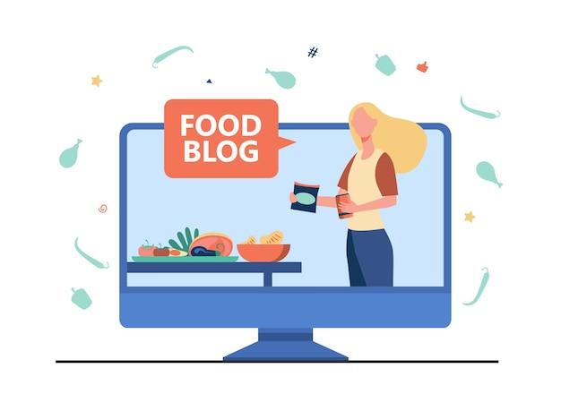 Blogueira de comida dando workshop. cozinhar online, vídeo-aula, chef. ilustração de desenho animado