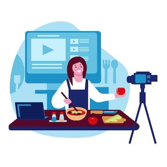 Blogueira de comida feminina grava transmissão ao vivo