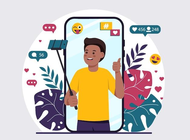 Blogueiro afro-americano tirando uma selfie