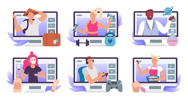 Blogueiros de vídeo. blogger ou vlogger de beleza, blog de viagens e tradução de stream de jogos para jogadores.