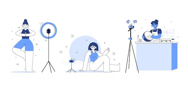Blogueiros ilustrados desenhados à mão filmando
