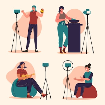 Blogueiros planos desenhados à mão