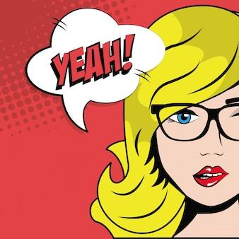 Blonde girl glasses bubble speech pop art comic style