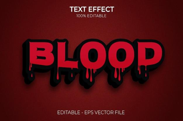 Blood creative 3d halloween e efeitos de texto editáveis de terror vetor premium premium vector