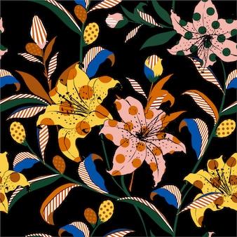 Blooming lily jardim flor em pop art estilo colorido e divertido humor fill-in