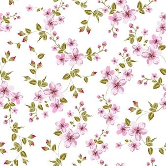 Blooming sakura seamless pattern