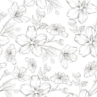 Blooming sakura seamless pattern