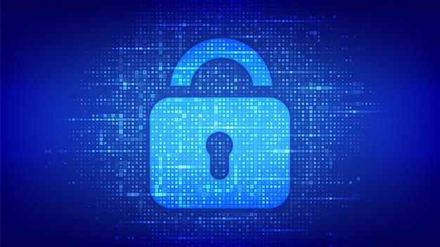 Bloquear. cadeado com fechadura feita com código binário. proteger e segurança ou conceito seguro.