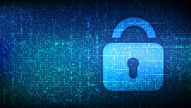 Bloquear. cíber segurança. ícone de cadeado com fechadura feito com código binário.