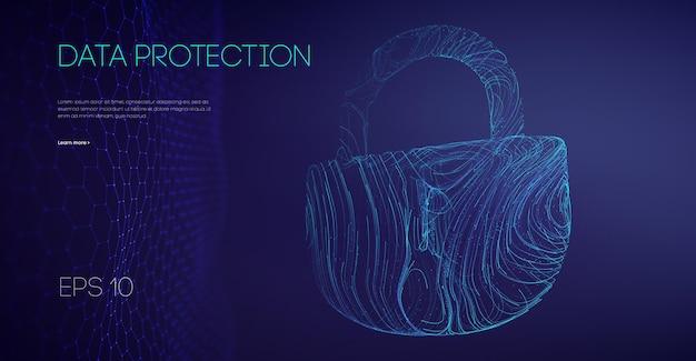 Bloqueio binário de proteção de dados. rede de conexão segura. controle de conta de segurança de dados. ilustração vetorial.