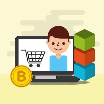 Bloqueio de bitcoin de e-commerce de compras online