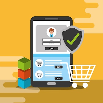 Bloqueio de compras online para smartphone