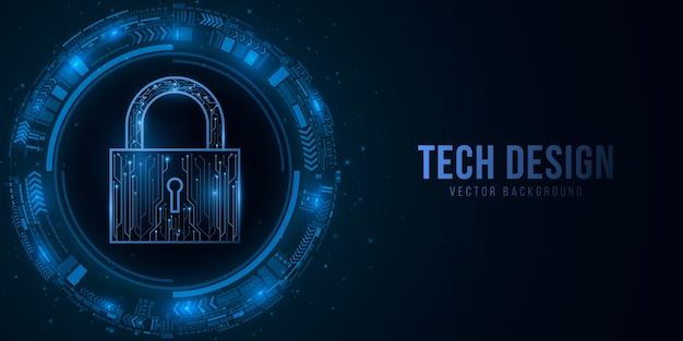 Bloqueio de segurança e interface de usuário de ficção científica com elementos hud